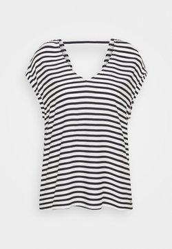 TOM TAILOR DENIM - V NECK  - T-Shirt print - navy/white
