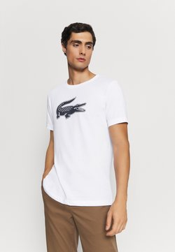 Lacoste Sport - TH2042 - T-shirt med print - white/navy blue