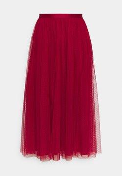 Needle & Thread - DOTTED MIDAXI SKIRT - Falda acampanada - deep red