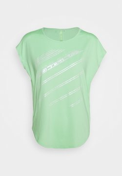 ONLY PLAY Tall - ONPMANON CURVED TRAINING TEE TALL - T-shirt print - green ash/saftey yelow/white