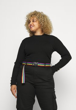 Missguided Plus - BUTTON CUFF CREW NECK - Pullover - black