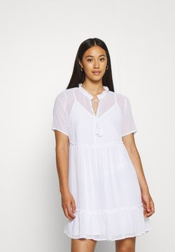 NA-KD - SHORT SLEEVE FLOWY MINI DRESS - Korte jurk - white