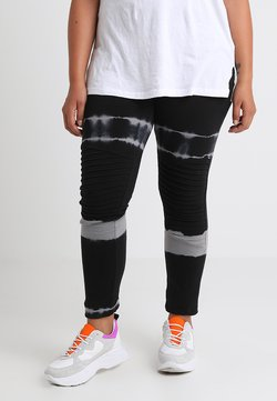 Urban Classics Curvy - LADIES STRIPEDD TIE BIKER - Leggings - Hosen - black/light grey