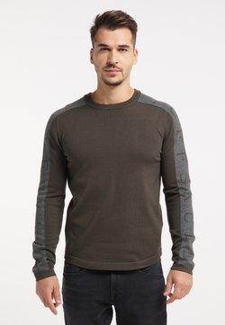 TUFFSKULL - Stickad tröja - militär oliv grau