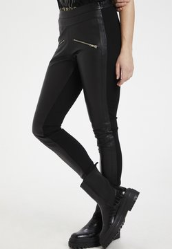 Culture - CUJEWEL - Leather trousers - black