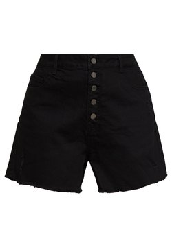 Lost Ink Plus - BUTTON FRONT MOM - Jeansshort - black