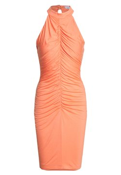 Lost Ink - RUCHED FRONT MIDI DRESS - Vestido ligero - orange