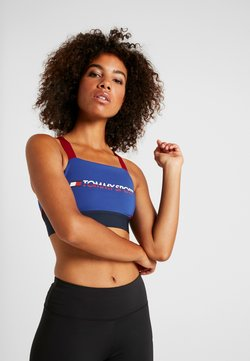 Tommy Sport - BLOCKED ADJUST BRA MID LOGO - Sport BH - blue