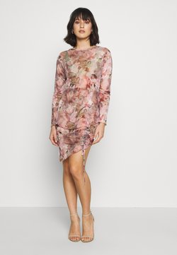Missguided Petite - FLORAL RENAISSANCE PRINT DRAWSTRING MIDI DRESS - Shift dress - pink