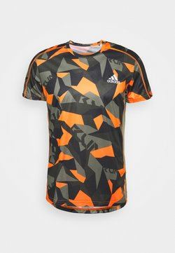 adidas Performance - RESPONSE PRIMEGREEN RUNNING SHORT SLEEVE TEE - T-shirt con stampa - legacy green/signal orange