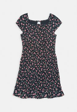 Abercrombie & Fitch - ALLOVER SMOCKED DRESS - Freizeitkleid - navy