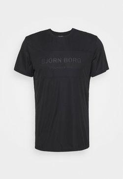 Björn Borg - BLOCKED TEE - T-shirt med print - black beauty