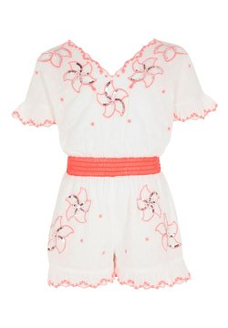 River Island - GIRLS WHITE EMBROIDERED SEQUIN PLAYSUIT - Combinaison - white