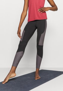 South Beach - TONAL STITCH DETAIL STRIPED LEGGING - Medias - black/cocoa