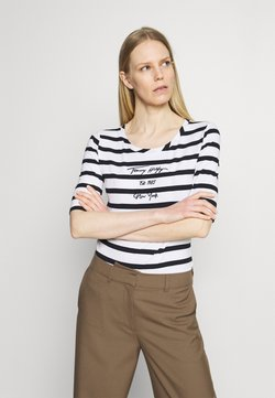Tommy Hilfiger - SLIM SCRIPT STRIPED TEE - T-Shirt print - cabana/white