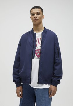 PULL&BEAR - Giubbotto Bomber - mottled dark blue