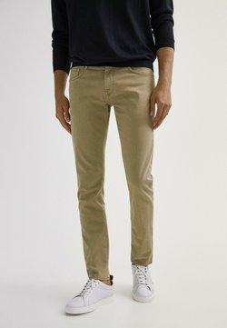 Massimo Dutti - MIT FISCHGRÄTENMUSTER  - Slim fit jeans - ochre