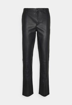 STUDIO ID - FITTED TOUSERS - Leather trousers - black