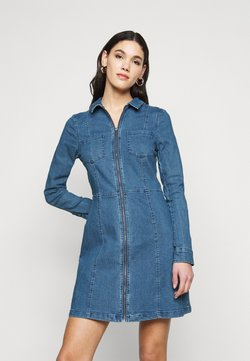 Noisy May Tall - NMLISA ZIP DRESS - Denim dress - medium blue denim