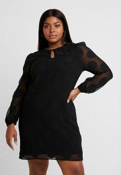 CAPSULE by Simply Be - DOBBY SPOT SHIFT DRESS - Freizeitkleid - black