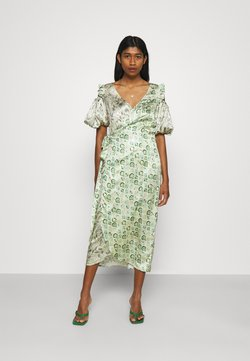 Never Fully Dressed - MARBLE COLD SHOULDER MIDI WRAP - Juhlamekko - green