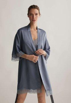 OYSHO - MIT SPITZE - Peignoir - dark blue