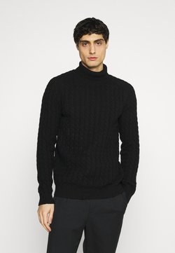 Selected Homme - SLHJOE CABLE ROLL NECK - Strickpullover - black