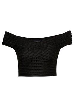 New Look - SELF STRIPE BARDOT CROP - Print T-shirt - black
