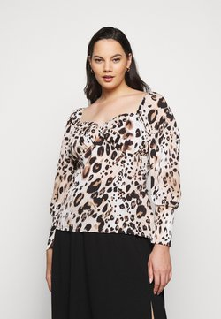 Missguided Plus - LEOPARD PRINT SWEETHEART - Bluse - brown