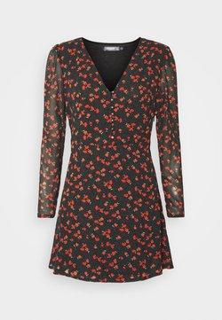 Missguided Petite - HALF BUTTON TEA DRESS FLORAL - Sukienka letnia - black