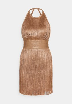 Hervé Léger - HIGH NECK FOIL FRINGE DRESS - Vestito elegante - gold
