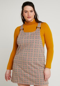 New Look Curves - MULTI DOGTOOTH CHECK PINNY - Vapaa-ajan mekko - brown