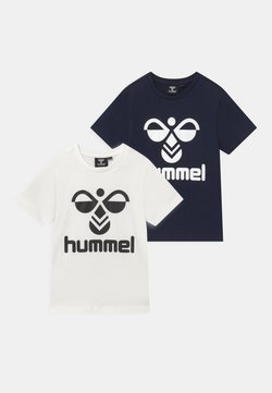 Hummel - 2 PACK UNISEX - T-shirt con stampa - white/navy