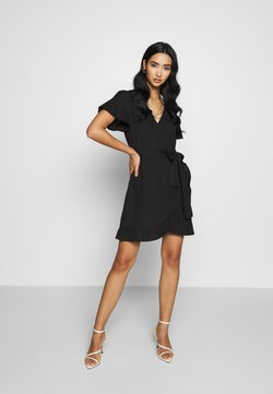 Nly by Nelly - WRAPPED FRILL DRESS - Vapaa-ajan mekko - black