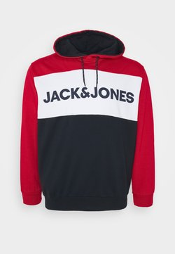 Jack & Jones - JJELOGO BLOCKING HOOD - Sweat à capuche - tango red