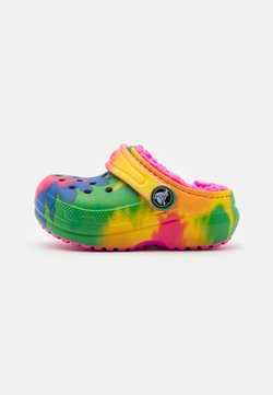 Crocs - CLASSIC LINED TIE DYE CLOG - Hausschuh - electric pink/multicolor
