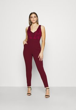 WAL G. - EMELY LACE CUT OUT JUMPSUIT - Combinaison - wine