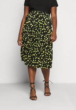 CAPSULE by Simply Be - PRINT PLEATED MIDI SKIRT - Faltenrock - black/lime