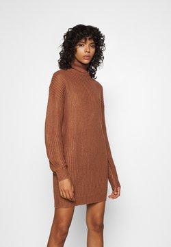 Missguided - ROLL NECK BASIC DRESS - Stickad klänning - mocha