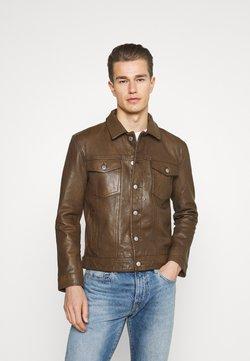 Superdry - WORKWEAR TRUCKER - Leather jacket - brown