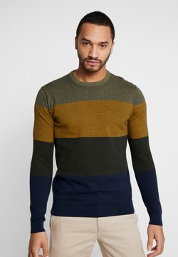 Only & Sons - ONSALEX  BLOCKED CREW  NECK KNIT - Strickpullover - dried herb