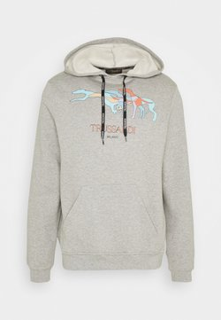 Trussardi - HOODIE BRUSHED FLEE - Sweater - mottled grey/light blue