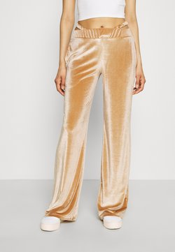 Jaded London - LOW RISE WIDE LEG WITH THONG DETAIL EMBROIDERED LOGO - Jogginghose - beige