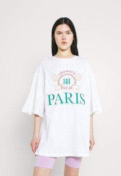 River Island - PARIS TENNIS OVERSIZED TEE - Printtipaita - white