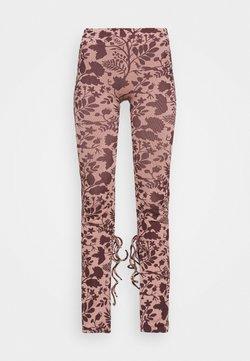 NU-IN - TONI DREHER X nu-in TIE CUFF SPLIT HEM LEGGINGS - Leggings - pink/brown