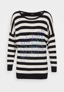 Guess - CLAUDINE BAT SLEEVE - Strickpullover - white/black