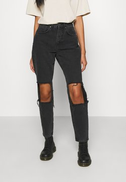 The Ragged Priest - CHARCOAL SQUARE CUT OUT KNEE JEAN - Relaxed fit -farkut - charcoal