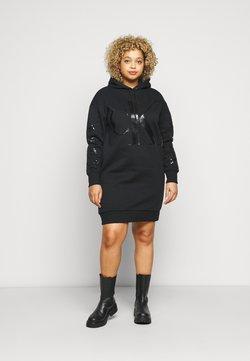 Calvin Klein Jeans Plus - ECOCK LOGO HOODIE DRESS - Freizeitkleid - black