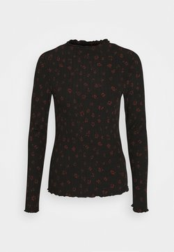 TOM TAILOR DENIM - LONGSLEEVE WITH LETTUCE EDGES - Langarmshirt - black rust flower print