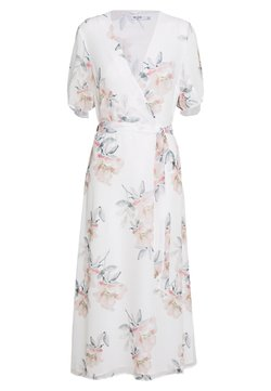 NA-KD - WRAP MIDI SHORT SLEEVE DRESS - Sukienka letnia - light flowers white